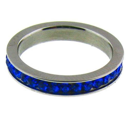 Stainless Steel Eternity Birthstone CZ Ring