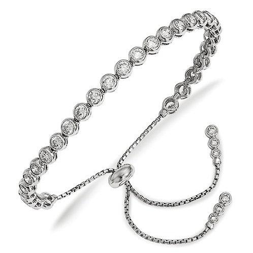 Shimmer® Adjustable Bracelet, Sterling Silver CZ