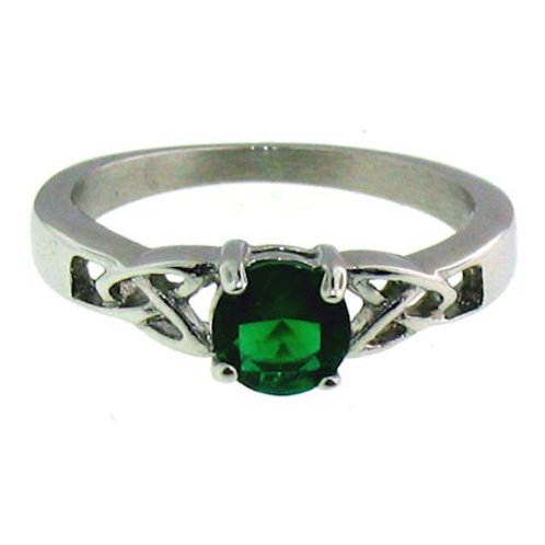 Stainless Steel Celtic Birthstone CZ Ring