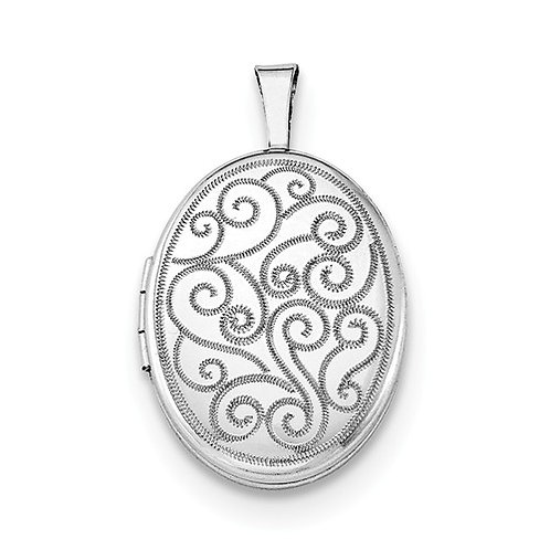 Oval Locket, Sterling Silver Patterned