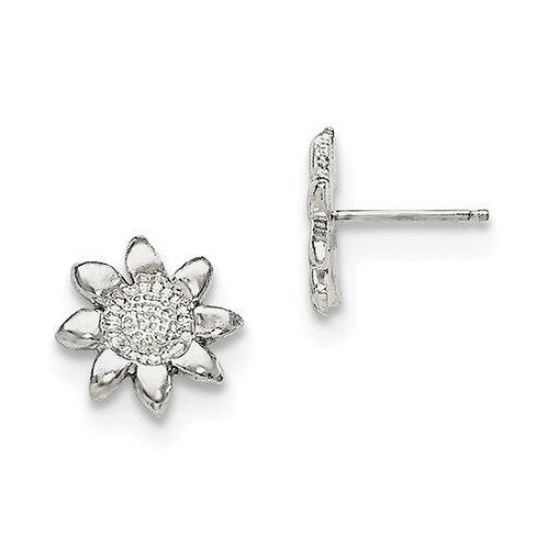 Quality® Child's Earrings, Sterling Sunflower