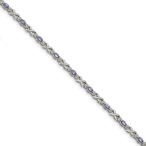 """Sterling Bracelet, 0.92ct Genuine """"AA"""" Tanzanite"""