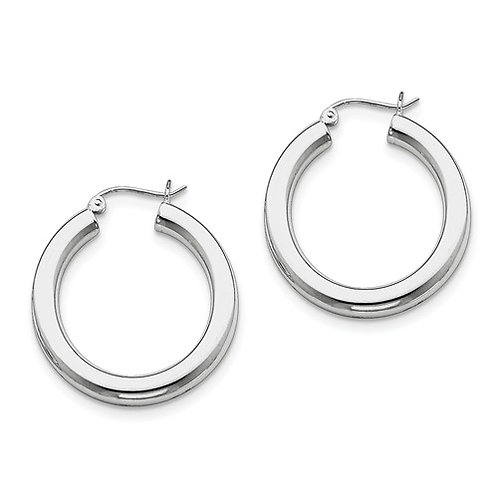 Classic Hoops, 4.0mm Sterling Silver Polished