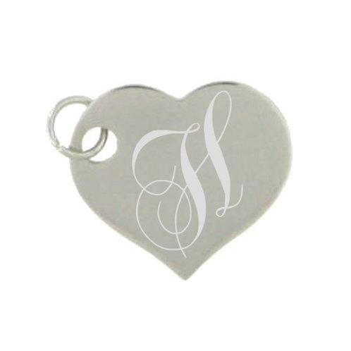 Stainless Steel Pendant, Engraved Heart Shape