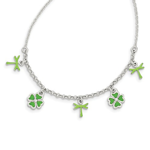 Quality® Child's Necklace, Sterling Clovers & Dragonflies