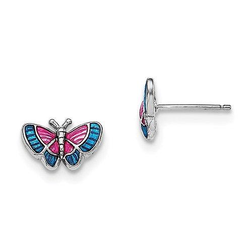 Mady K® Child's Earrings, Sterling Butterfly