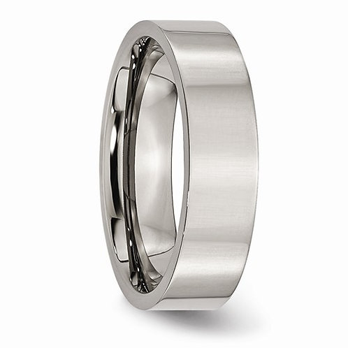 Titanium Flat Side Polished Band