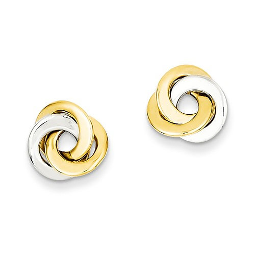 14kt Gold Love Knot Posts, Two-Tone