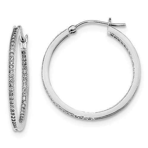 """CZ """"In & Out"""" Hoops, Sterling Silver Polished"""