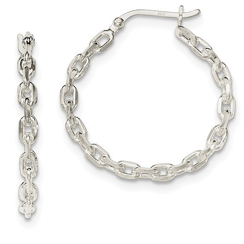 Sterling Silver Fashion Hoops, Chain Link