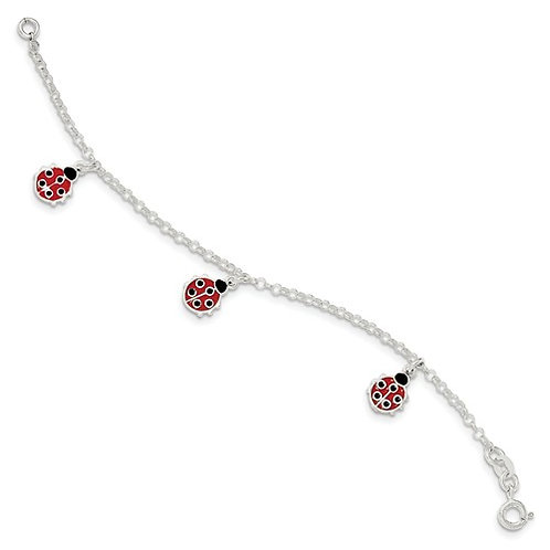 Quality® Child's Bracelet, Sterling Ladybugs