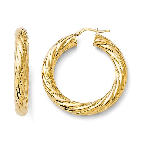 Flash Plate Bronze Hoops, Twisted Tubes