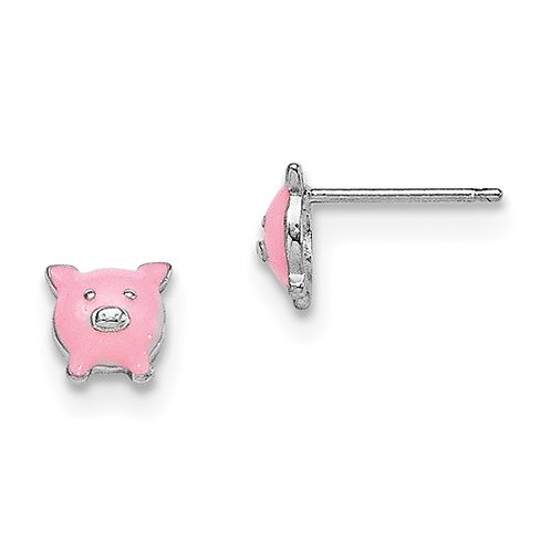 Mady K® Child's Earrings, Sterling Pig