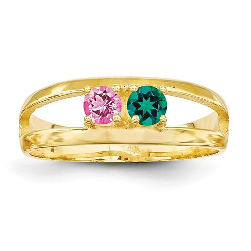 2-Stone Mother's Ring, 14kt Yellow Gold, Genuine