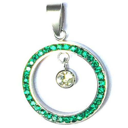 Stainless Steel Eternity Birthstone CZ Pendant
