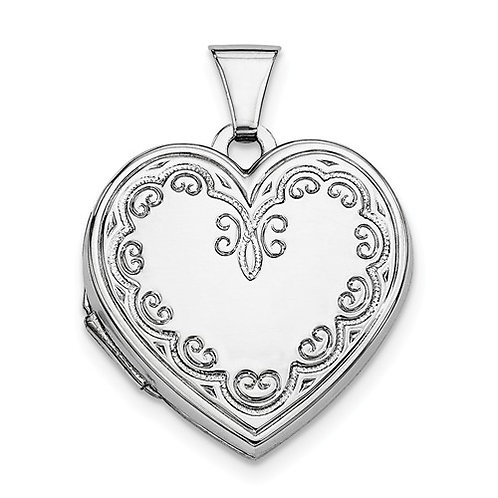Heart Locket, Sterling Silver Patterned