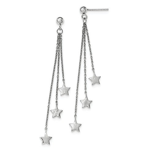 Polished Stars Dangles, Sterling Silver