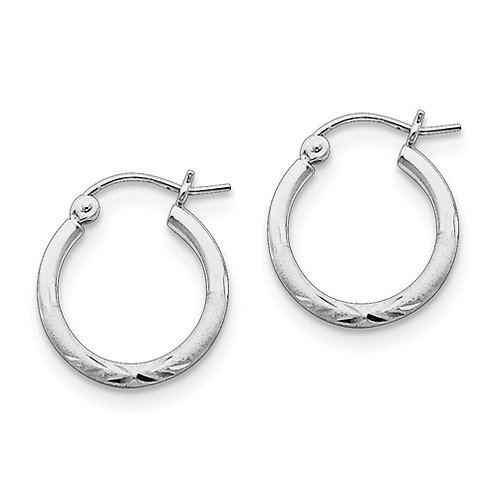 Classic Hoops, 2.0mm Sterling Silver Diamond-Cut