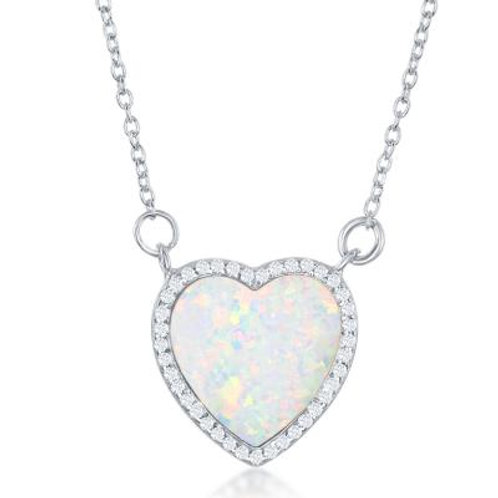 Sterling Silver Necklace, White Opal / CZ