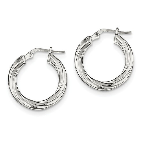 Sterling Silver Textured Tube Hoops, Polished