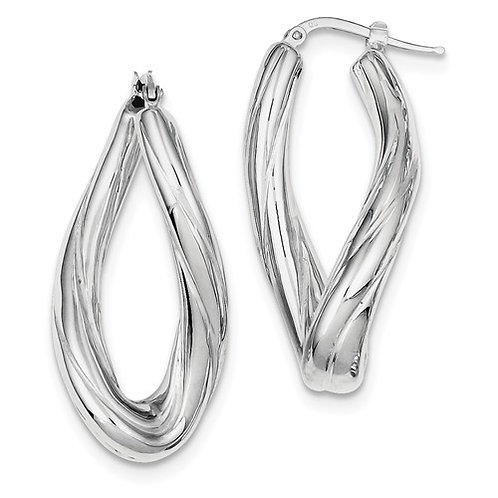 Sterling Silver Fashion Hoops, Twisted Oval