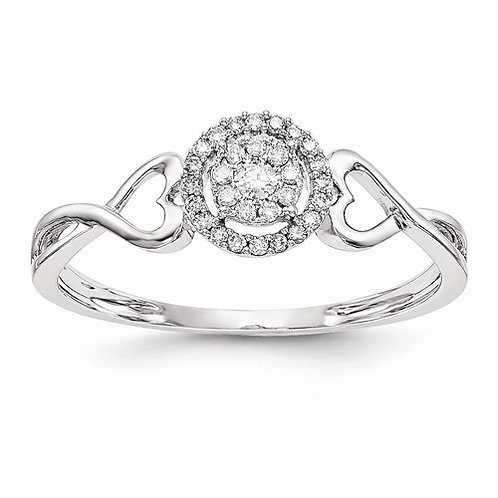 14kt Engagement Ring, 0.15ct Halo Multi-Stone