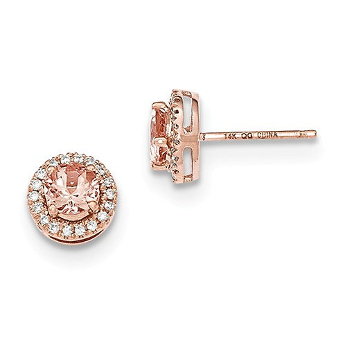 Genuine Morganite Earrings, 14k Rose Gold