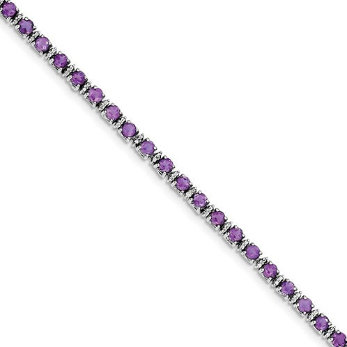 "Sterling Bracelet, 4.05ct Genuine ""AA"" Amethyst"