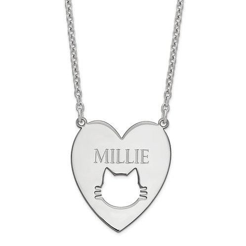 Personalized Heart Pet Cat Pendant w/Chain