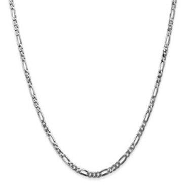 14kt Chain, White Gold Figaro (3+1) Link