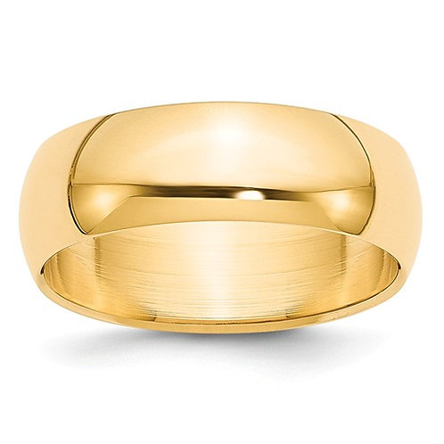 14kt Yellow Gold Half Round Band