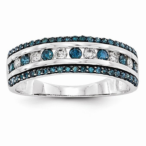 14kt Designer Band, Blue & White Diamonds 0.65ct
