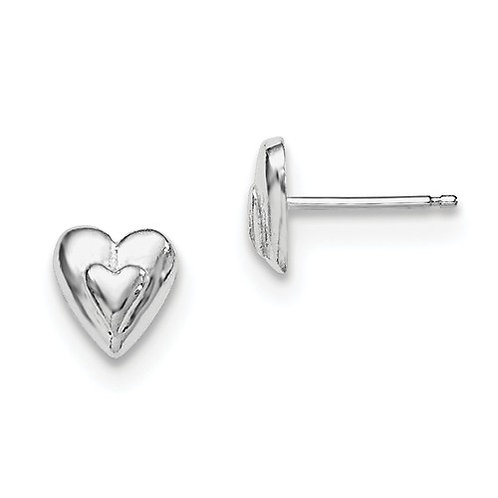 Quality® Child's Earrings, Sterling Hearts