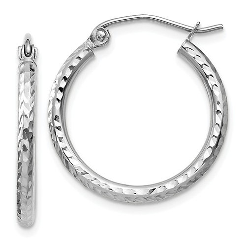14kt Classic Hoops, White Gold Diamond-Cut
