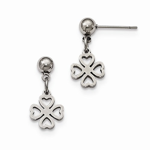 Stainless Steel Shamrock Earrings