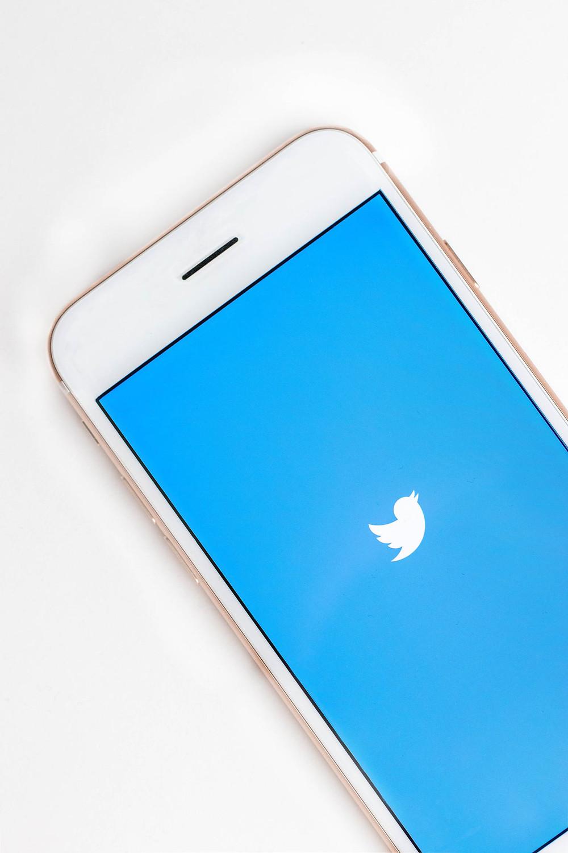 Kuvituskuva. Puhelin, jossa Twitterin logo, valkoinen lintu sinistä taustaa vasten.