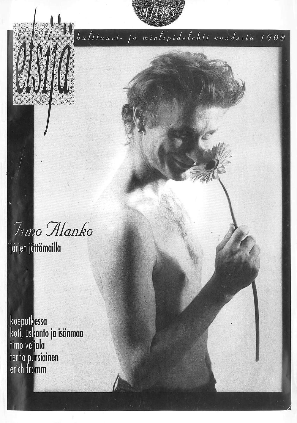 Kuvituskuva. Ismo Alangon Haastattelu Etsijä-lehdessä vuonna 1993. Sivu 1.