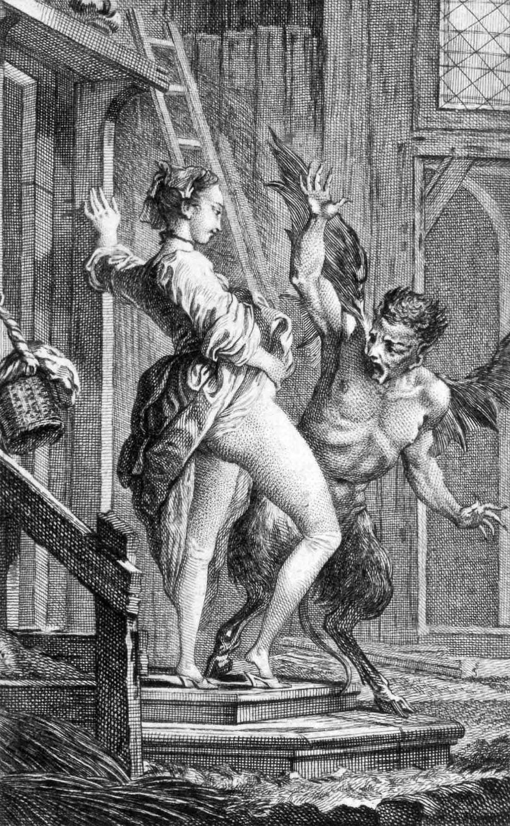 Kuvituskuvassa nainen näyttää sukupuolielintään paholaiselle, eurooppalaiselle anasyrmalle tyypilliseen tapaan.