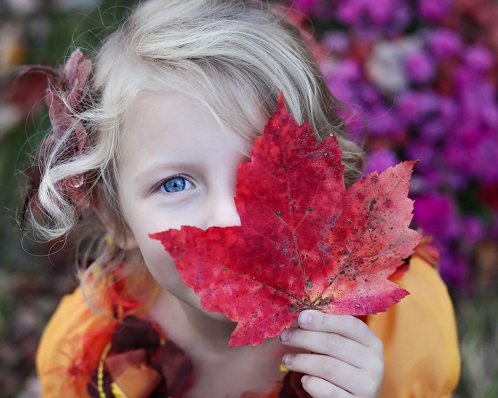 Kuvituskuva. Vaaleahiuksinen tyttö katsoo kameraan punaisen vaahteranlehden takaa.