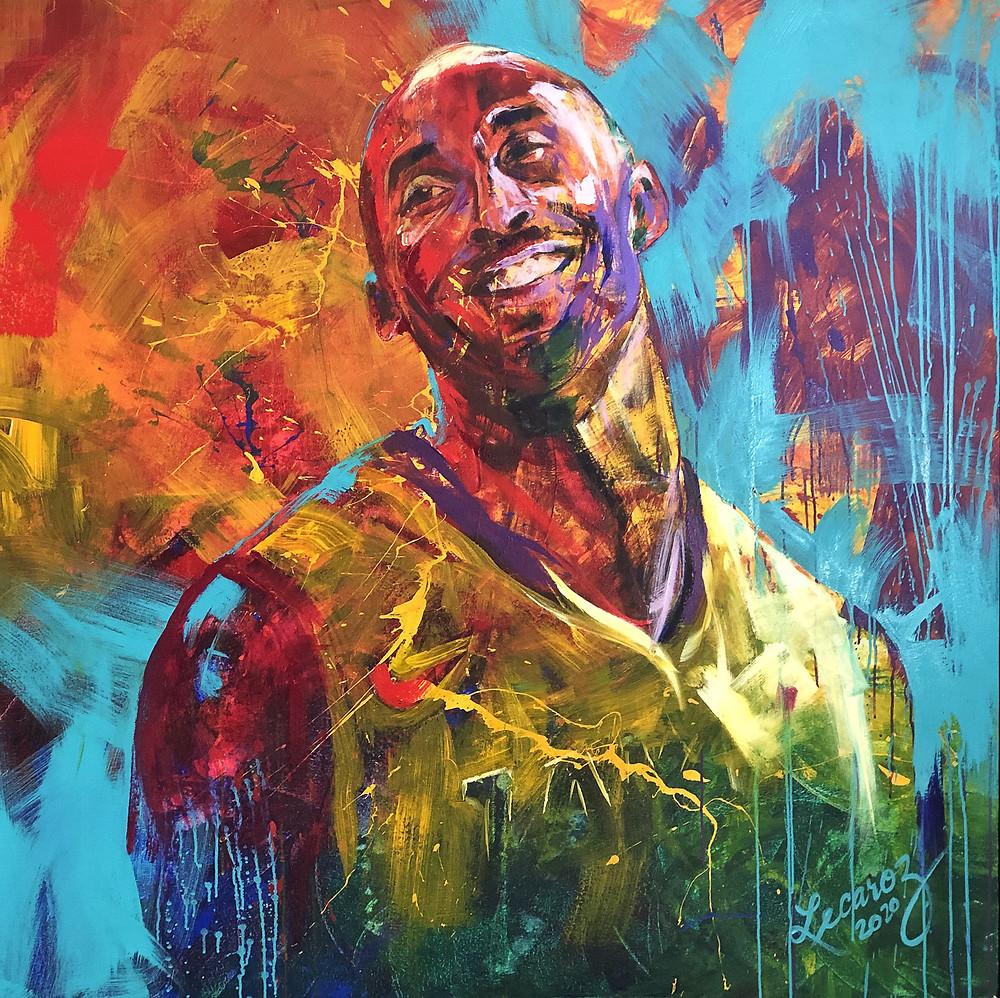 Kuvassa värikäs oranssin ja sinisen sävyinen maalaus hymyilevästä Kobe Bryantista.