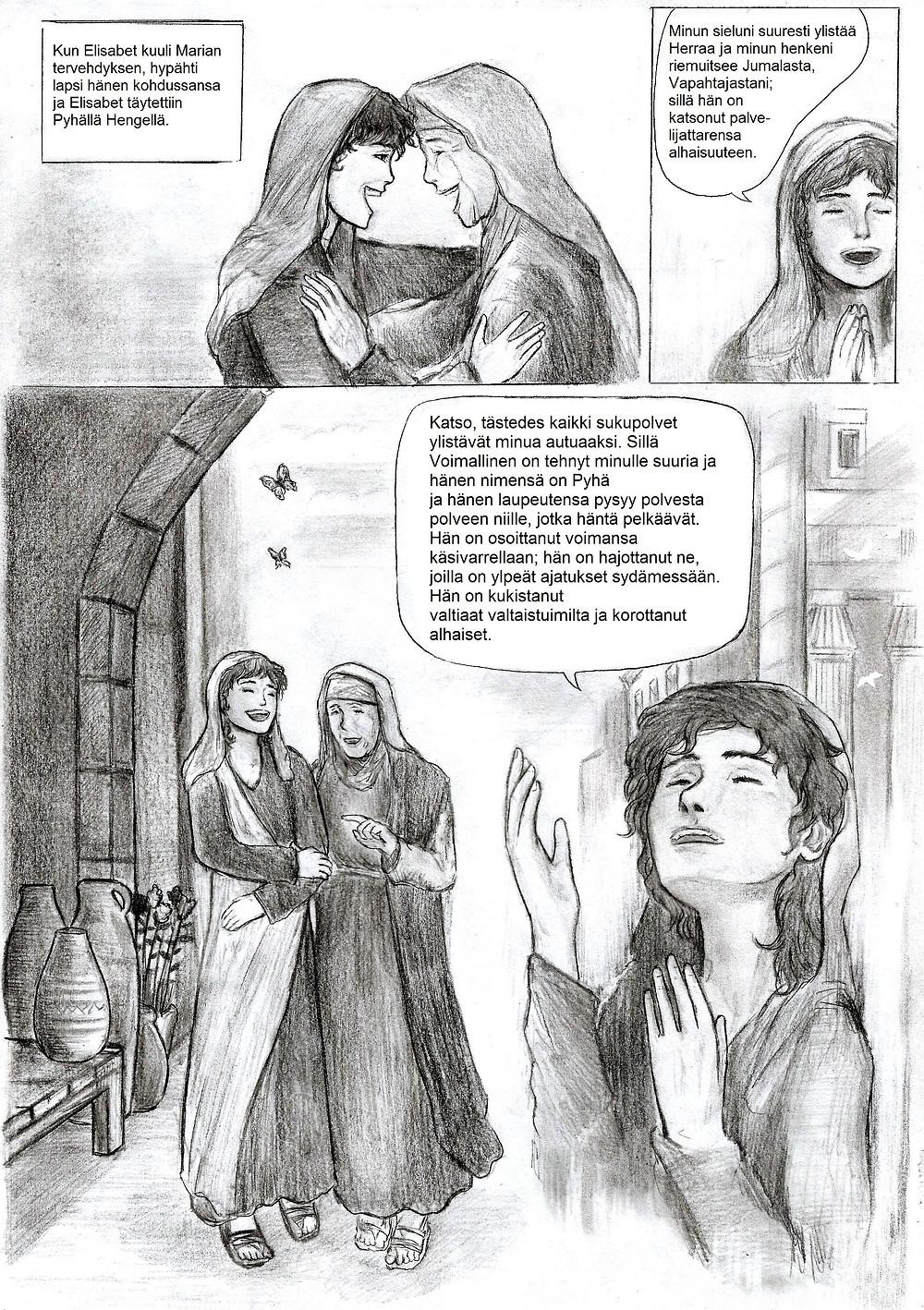 Maria ylistää Herraa Luukkaan evankeliumin Marian kiitosvirren mukaisesti