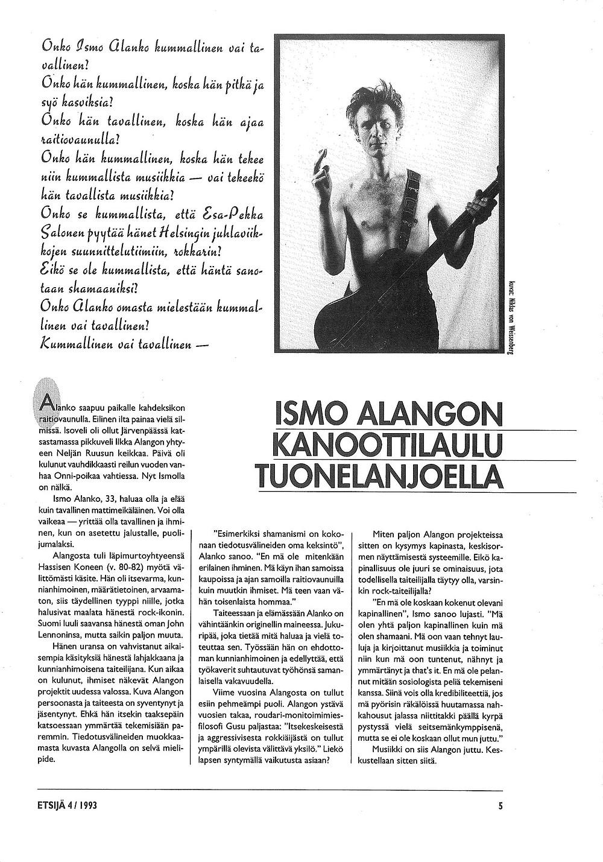 Kuvituskuva. Ismo Alangon Haastattelu Etsijä-lehdessä vuonna 1993. Sivu 3.