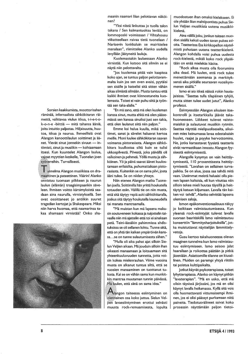 Kuvituskuva. Ismo Alangon Haastattelu Etsijä-lehdessä vuonna 1993. Sivu 6.