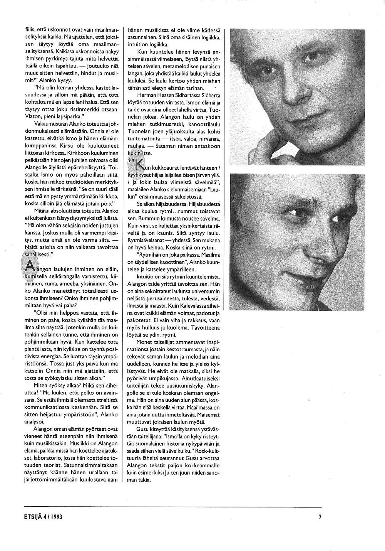 Kuvituskuva. Ismo Alangon Haastattelu Etsijä-lehdessä vuonna 1993. Sivu 5.