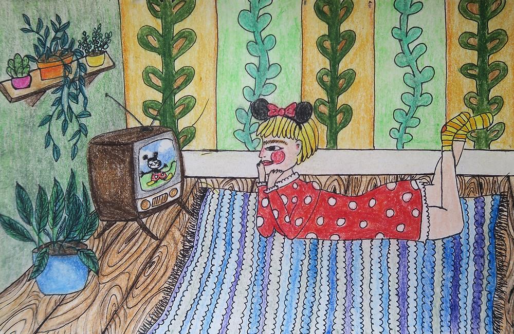 Kuvituskuva. Enni Salon piirrustus, jossa tyttö punaisessa mekossa katsoo Disney-elokuvaa, Minni Hiren korvat päässään.