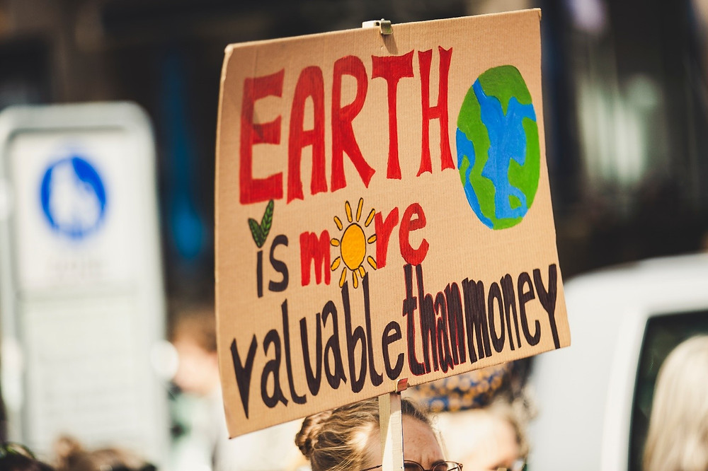 "Kyltti, jossa lukee ""earth is more valuable than money."""
