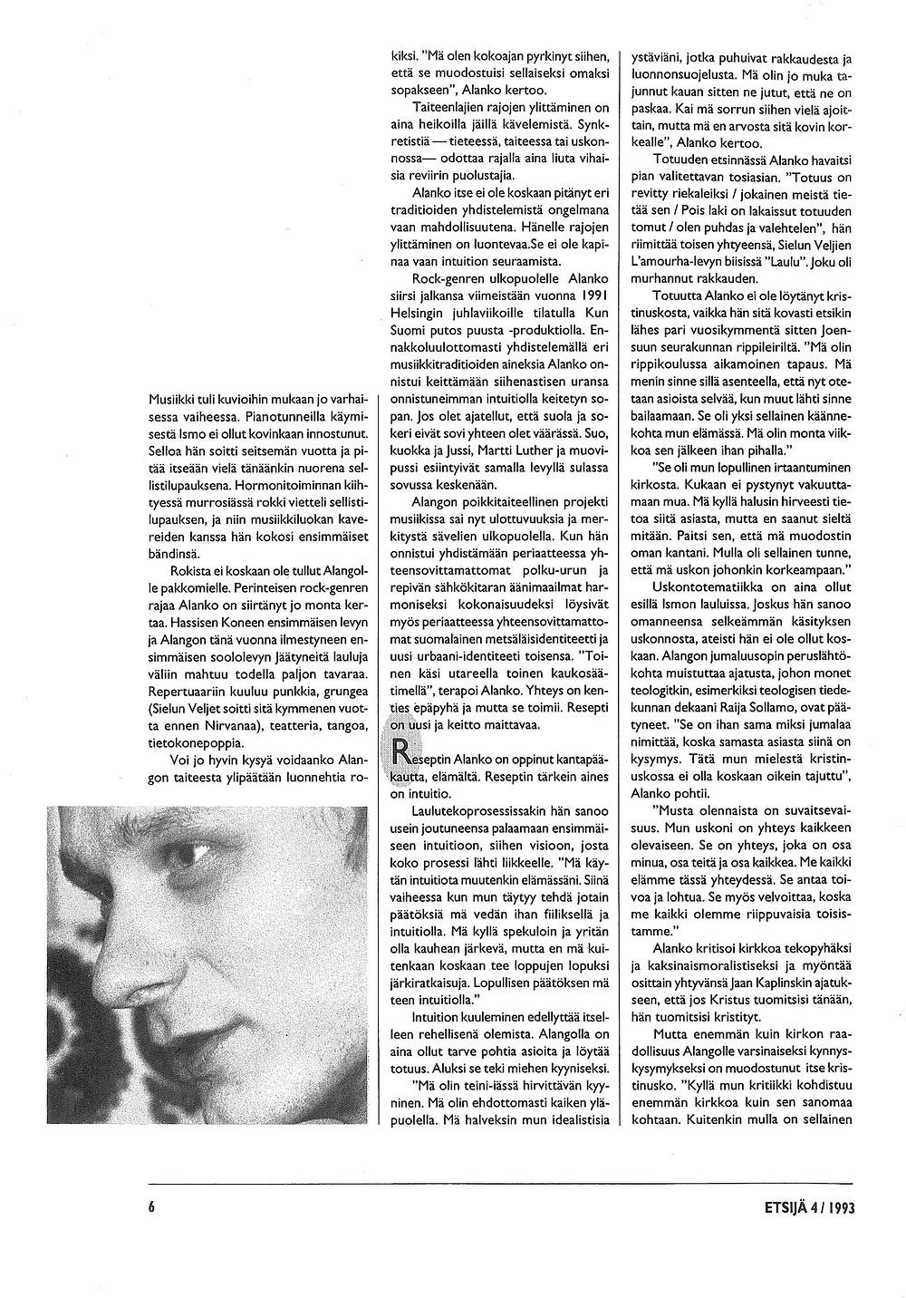 Kuvituskuva. Ismo Alangon Haastattelu Etsijä-lehdessä vuonna 1993. Sivu 4.