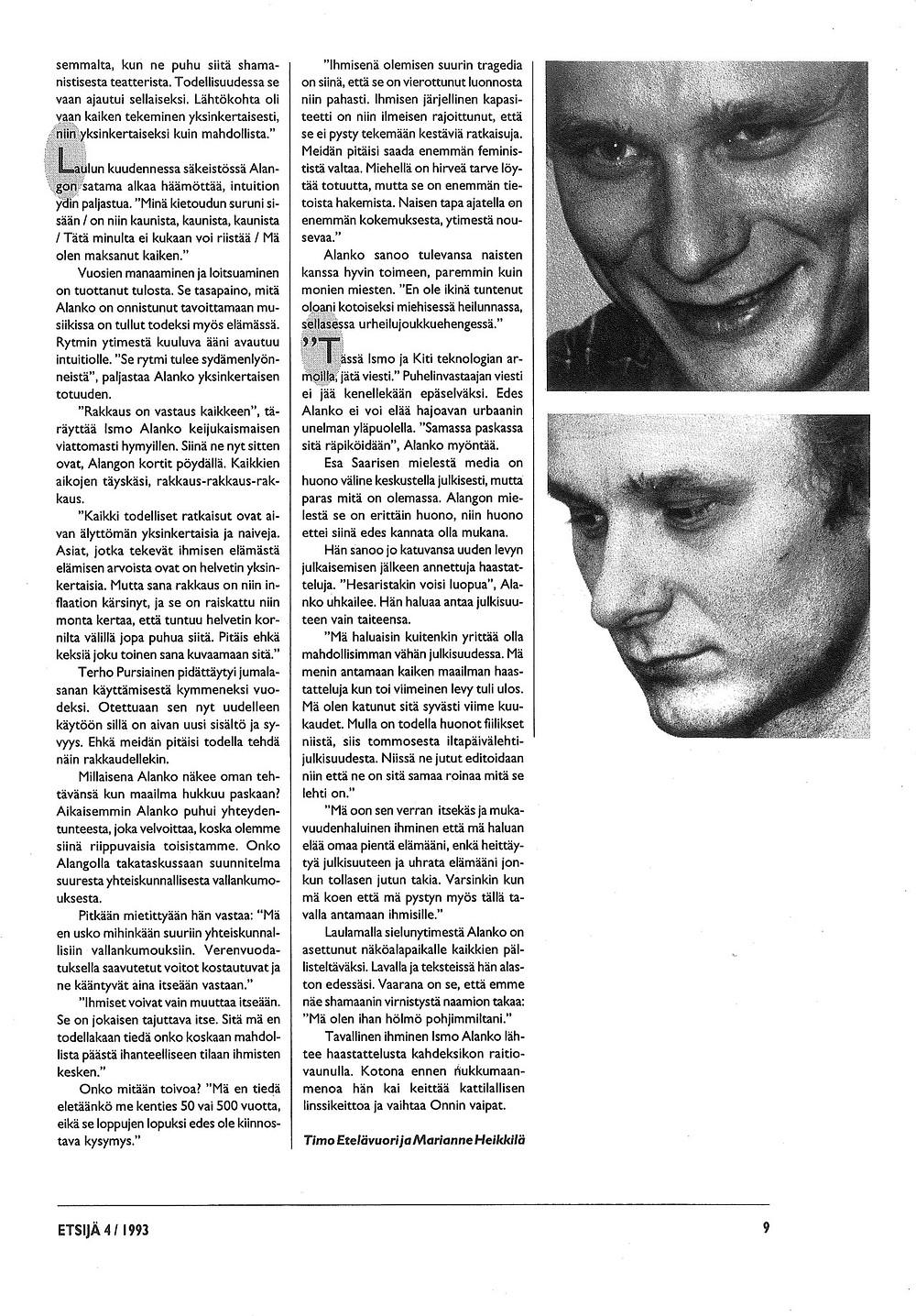 Kuvituskuva. Ismo Alangon Haastattelu Etsijä-lehdessä vuonna 1993. Sivu 7.
