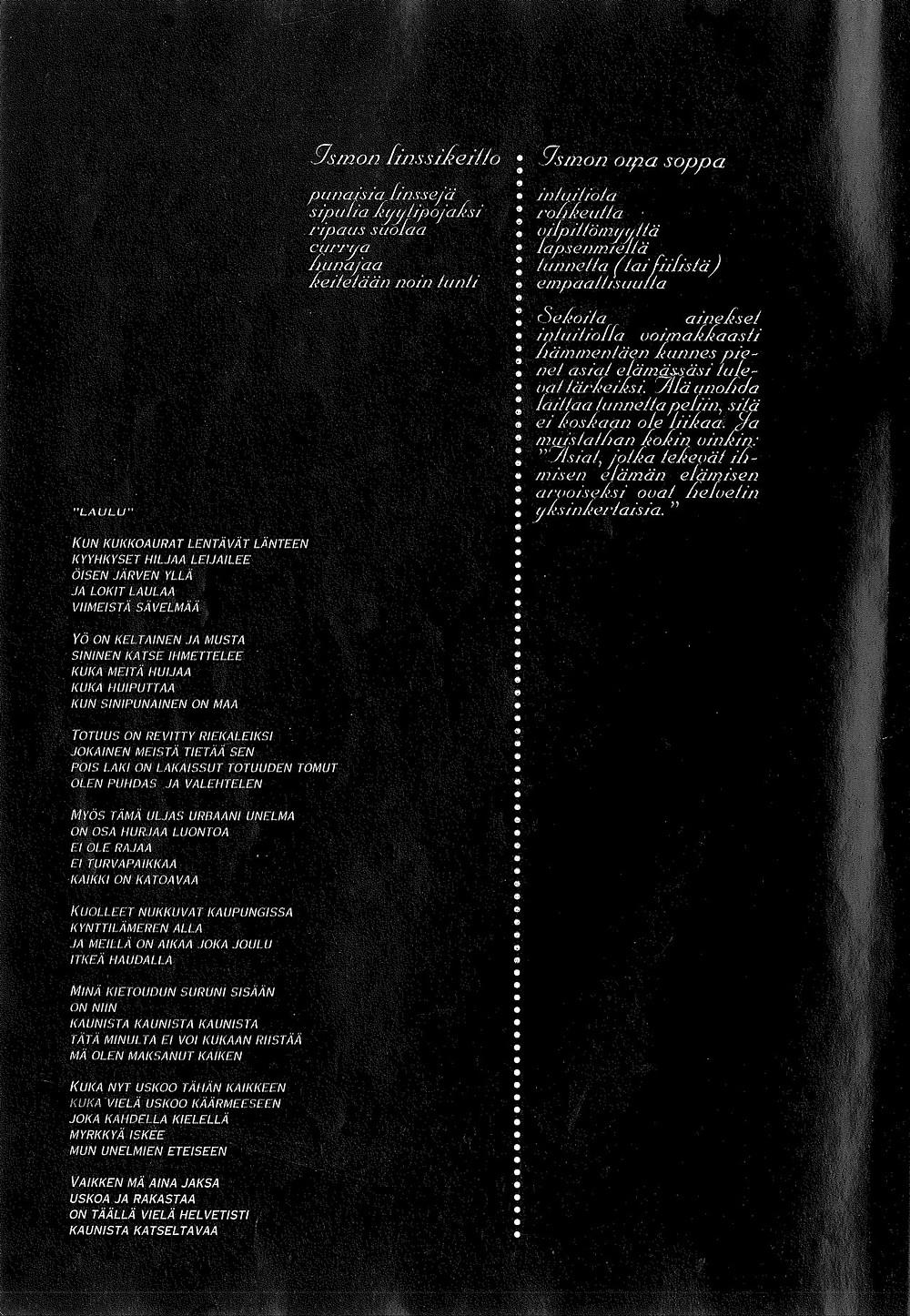 Kuvituskuva. Ismo Alangon Haastattelu Etsijä-lehdessä vuonna 1993. Sivu 8.