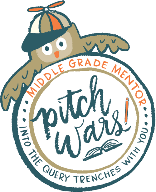 Pitch Wars MG Mentor logo. The adorable owl Poe drinks hot cocoa and holds a book.